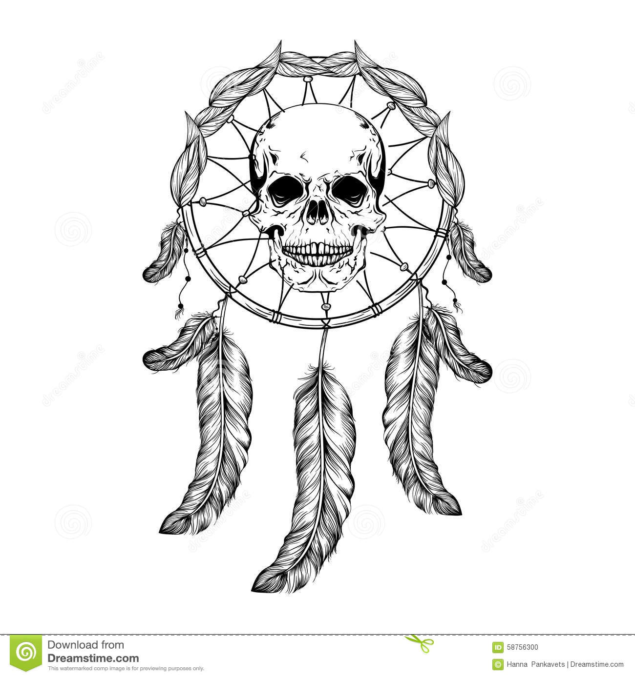 Dream Catcher With Feathers And Leafs Skull In Center