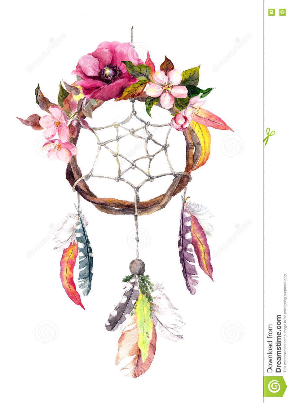 Dream Catcher Feathers Leaves Flowers Autumn