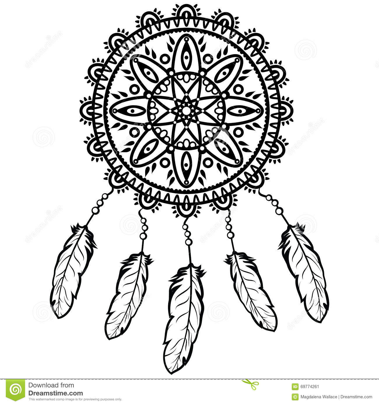 Dream catcher graphic in black and white decorated with for Dream catcher graphic
