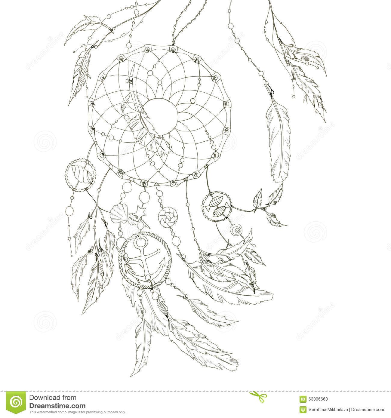 dream catcher with items from the sea and feathers vector