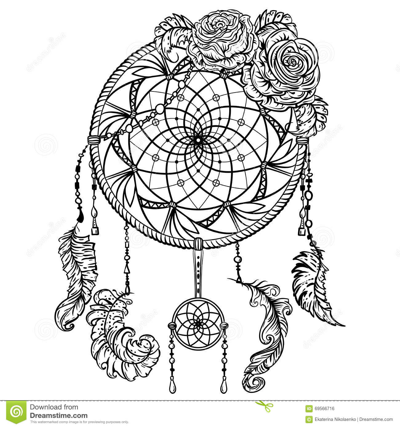 Dream Catcher With Ornament And Roses Tattoo Art Stock Vector Image 69566716
