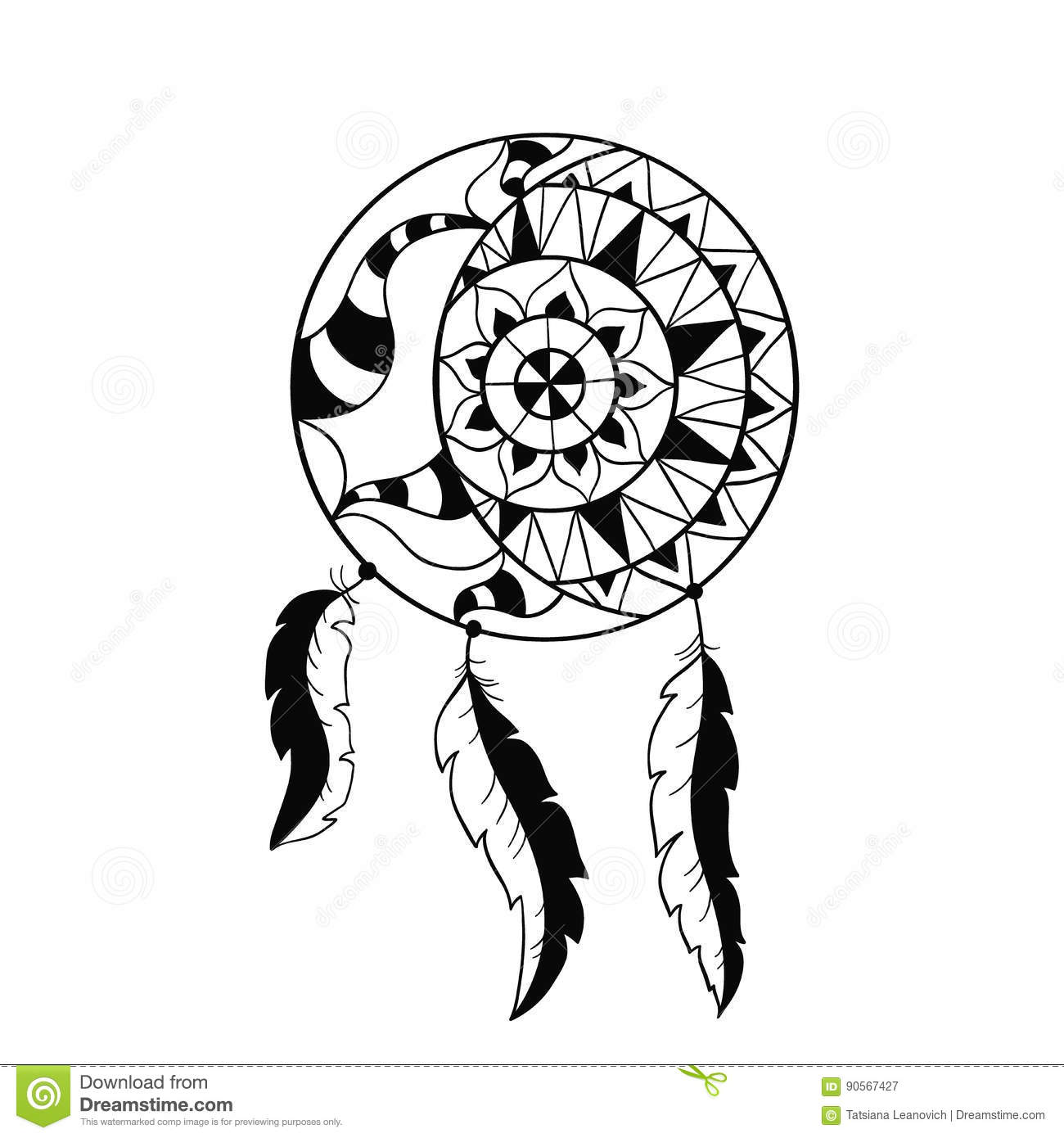 Dream Catcher Symbol Sun And Moon Ethnic Indian Element Royalty Free Stock Photography