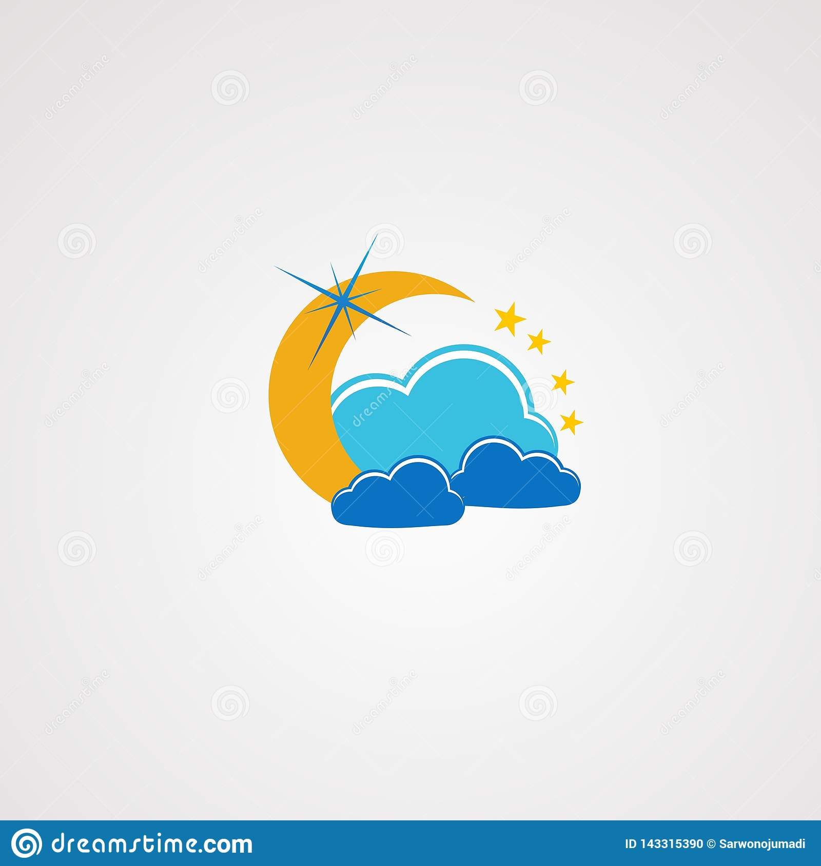 Dream cloud with little star logo vector, icon, element, and template for company