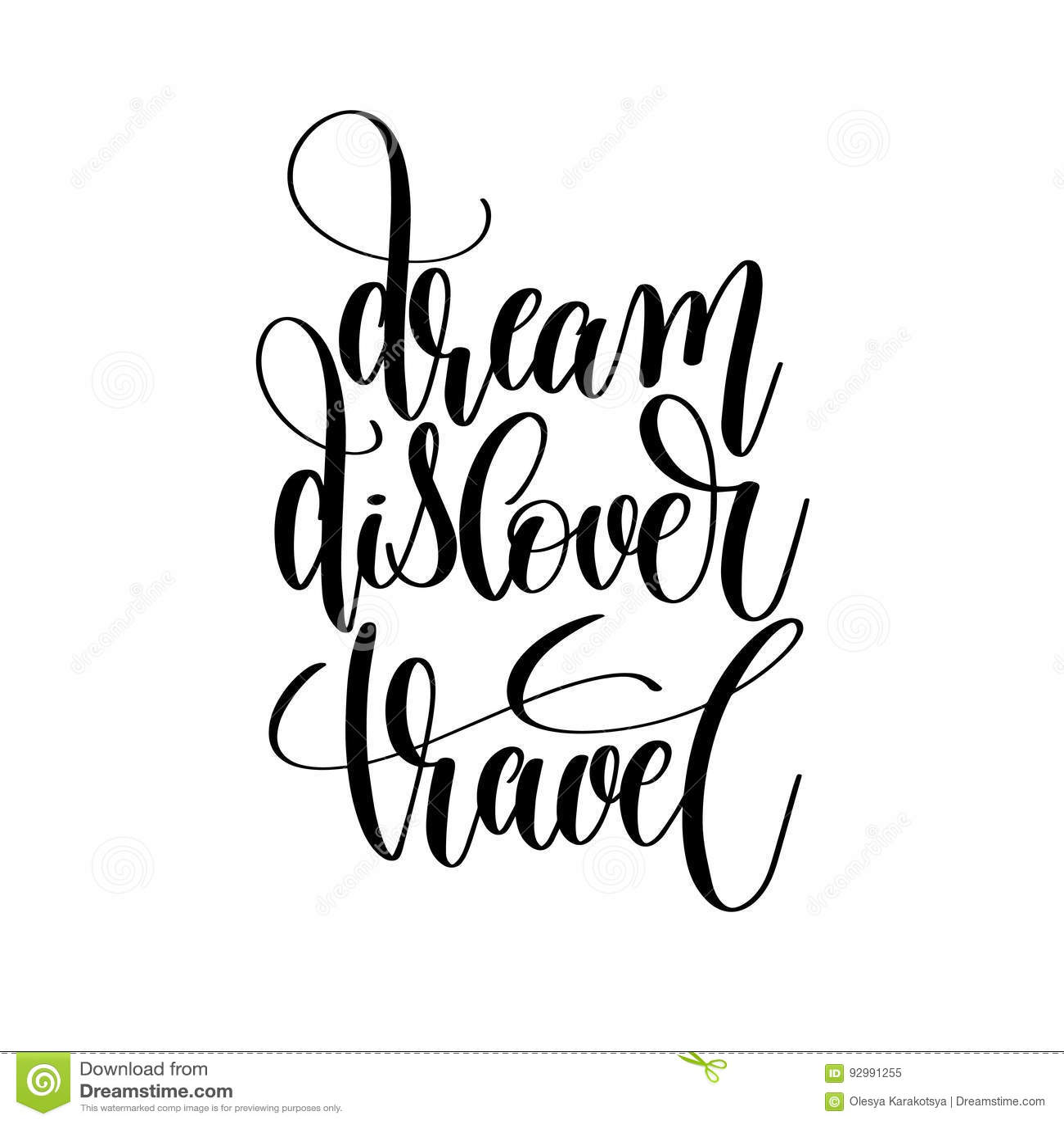 Dream Discover Travel Black And White Hand Written Lettering Stock