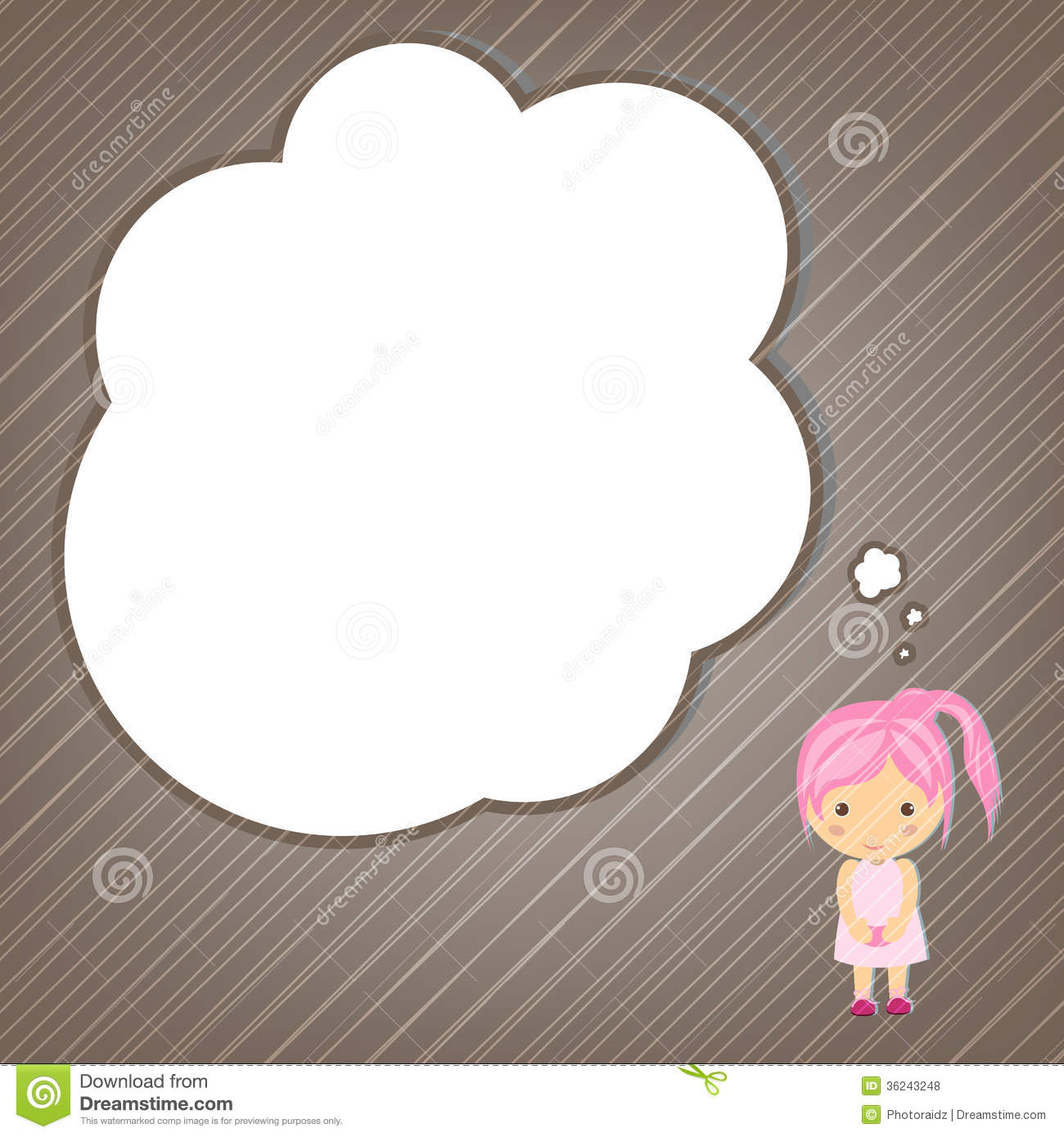 Dream Girl Cartoon Stock Vector Illustration Of Child