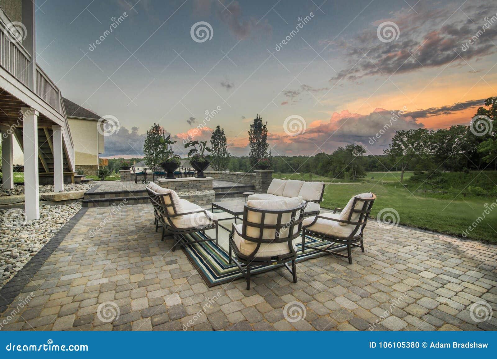 Luxury Home Luxurious Brick House Exterior Patio Sunset Sitting Area