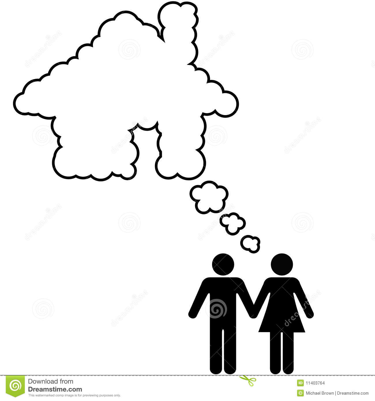 Dream House Couple Share Home Ownership Idea Stock Vector ...