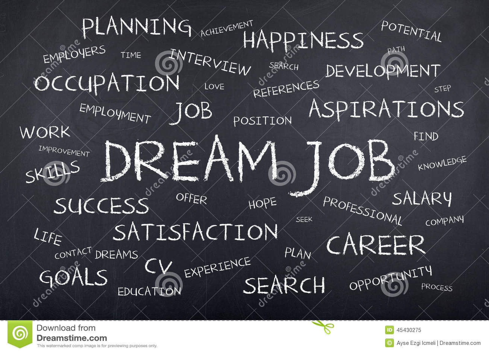Dream Job Background Concept Word Cloud Stock Photo