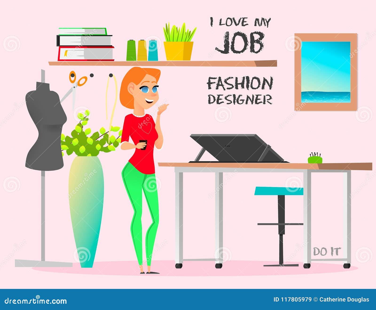 Dream Job Fashion Designer Do It Stock Vector Illustration Of Fashion Books 117805979