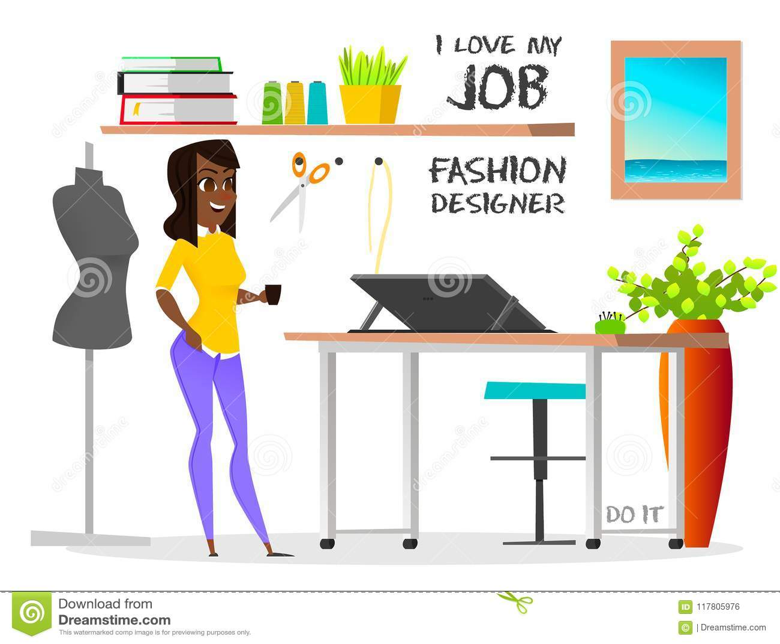 Dream Job Fashion Designer Do It Stock Vector Illustration Of Fashionable Income 117805976