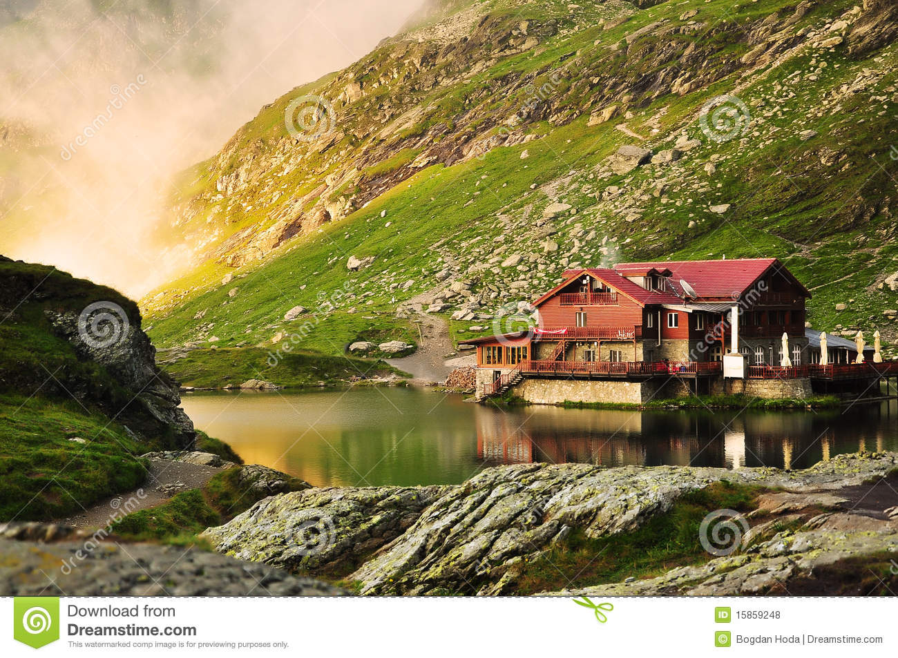 Dream Lake House In The Mountains Royalty Free Stock