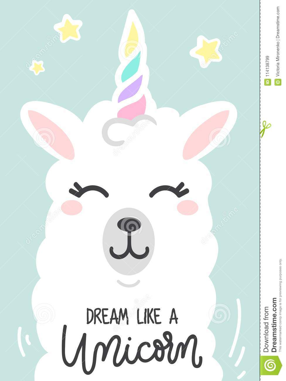 Dream like a unicorn inspirational poster with llama and stars.