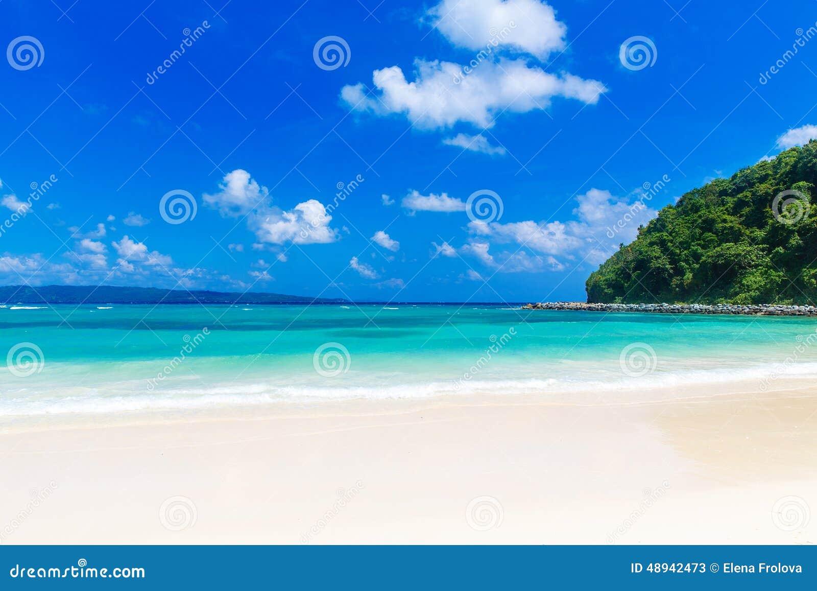 Dream scene. Beautiful white sand beach, the tropical sea . Summer view of nature.