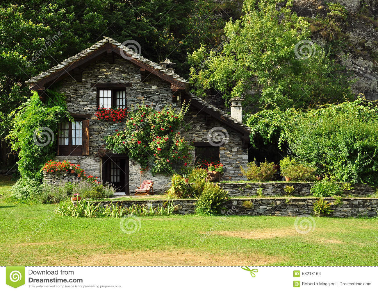 Dream stone house and garden in the italian alps stock House garden pics