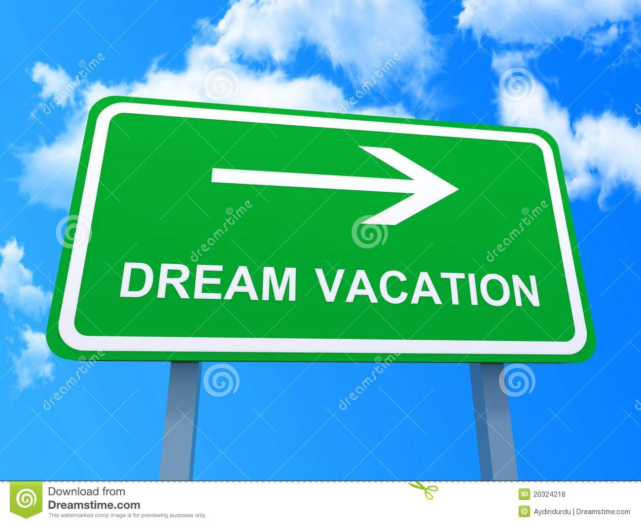 Conceptual view of green directional dream vacation sign with blue sky ...