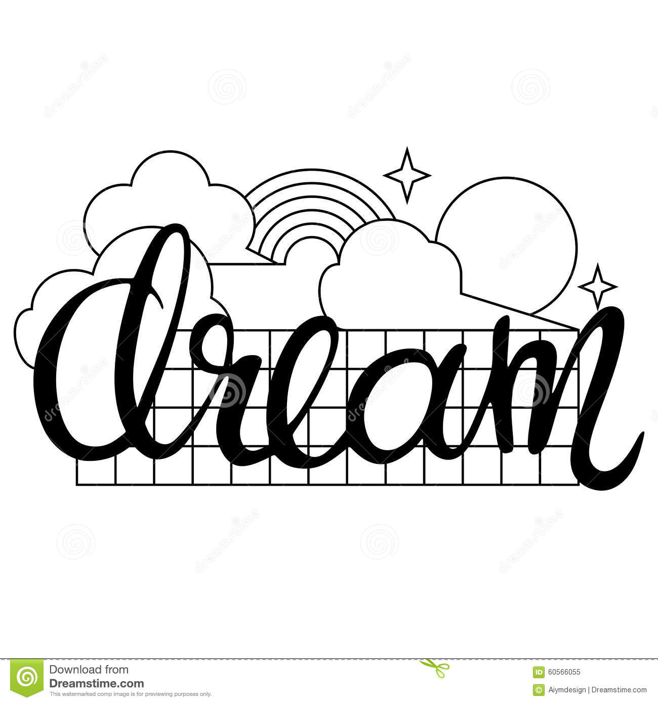 Dream Word Calligraphic Design With Clouds Sun Rainbow And Stars In Linear Style On White Background