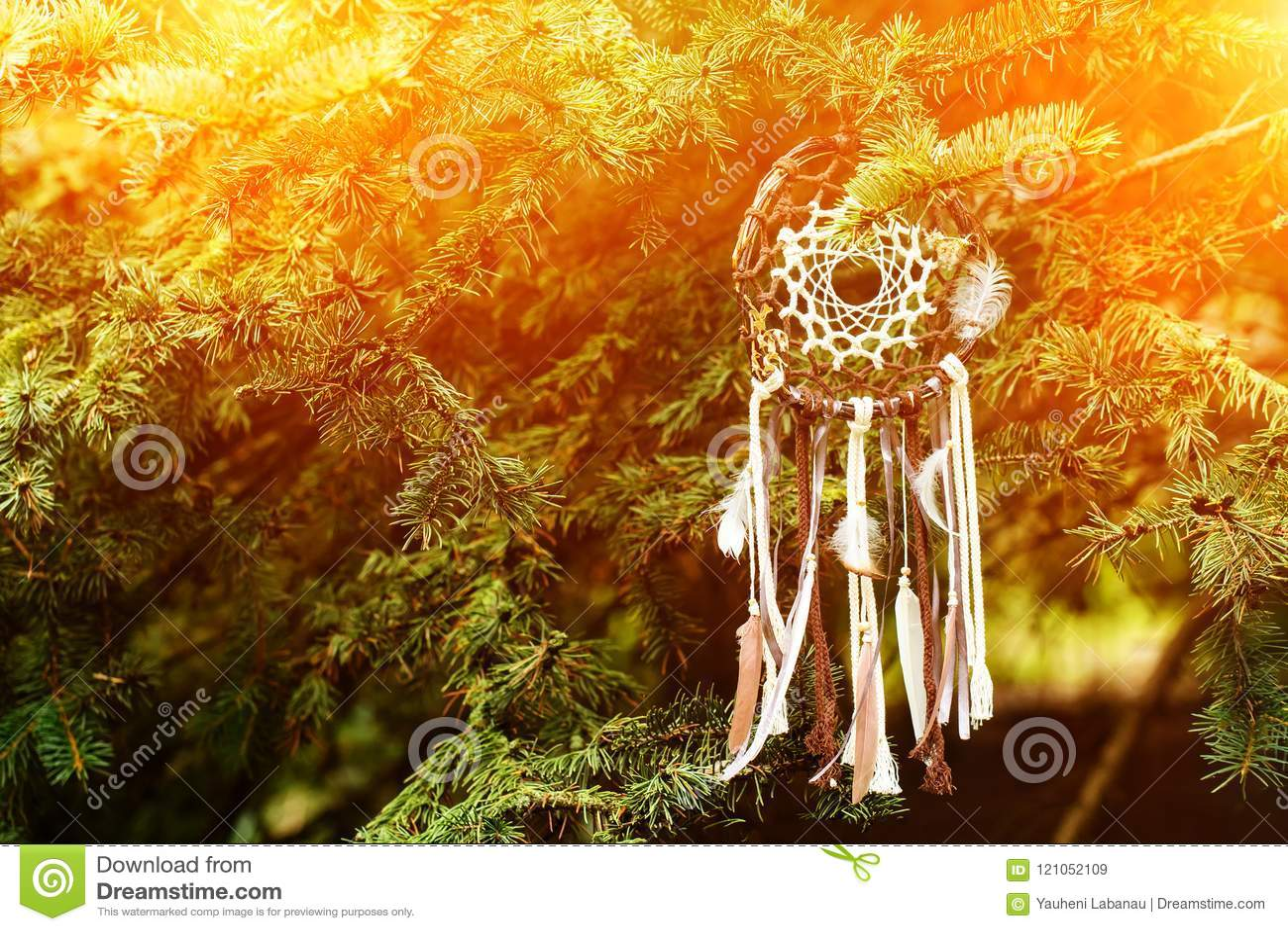 Dreamcatcher, amuleto indigeno americano sul tramonto shaman