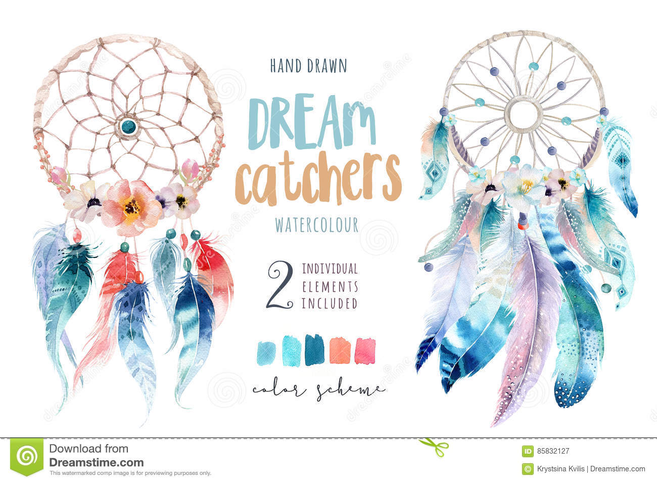 Dreamcatcher d isolement de bohémien de décoration d aquarelle Boho
