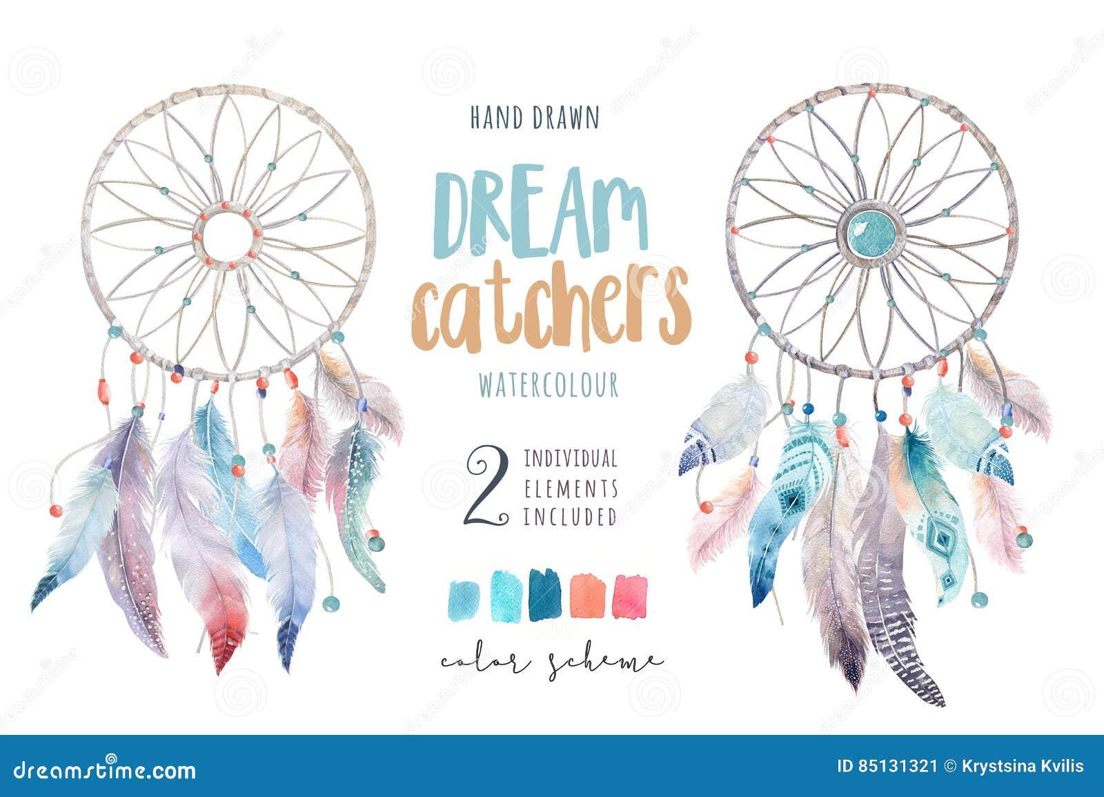 Dreamcatcher d isolement de bohémien de décoration d aquarelle Feath de Boho