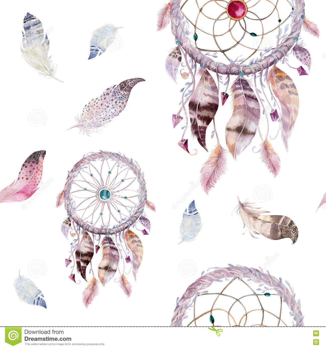 Dreamcatcher And Feather Pattern Watercolor Bohemian