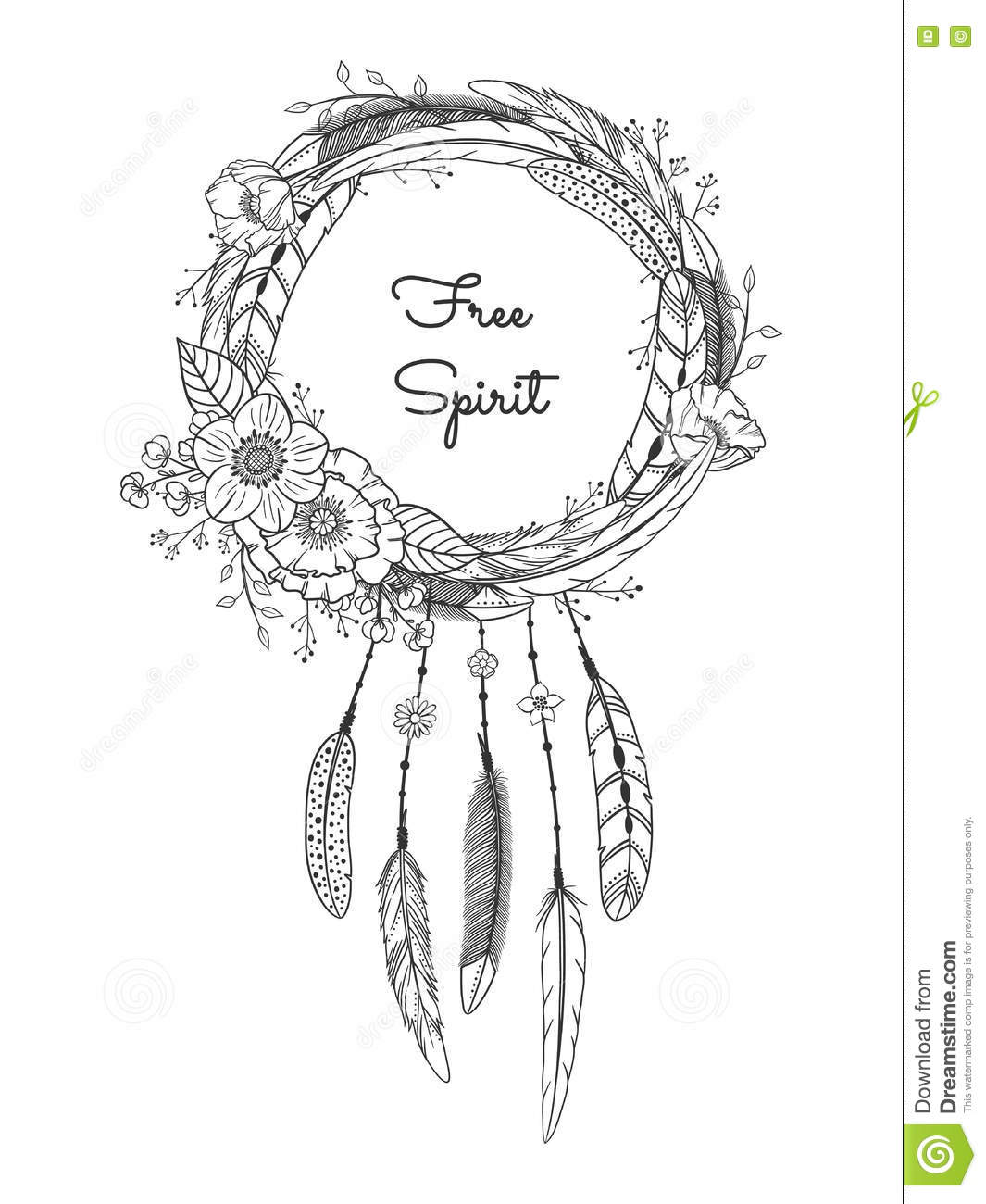 image regarding Legend of the Dreamcatcher Printable called Dreamcatcher With Feathers And Bouquets. Inventory Vector