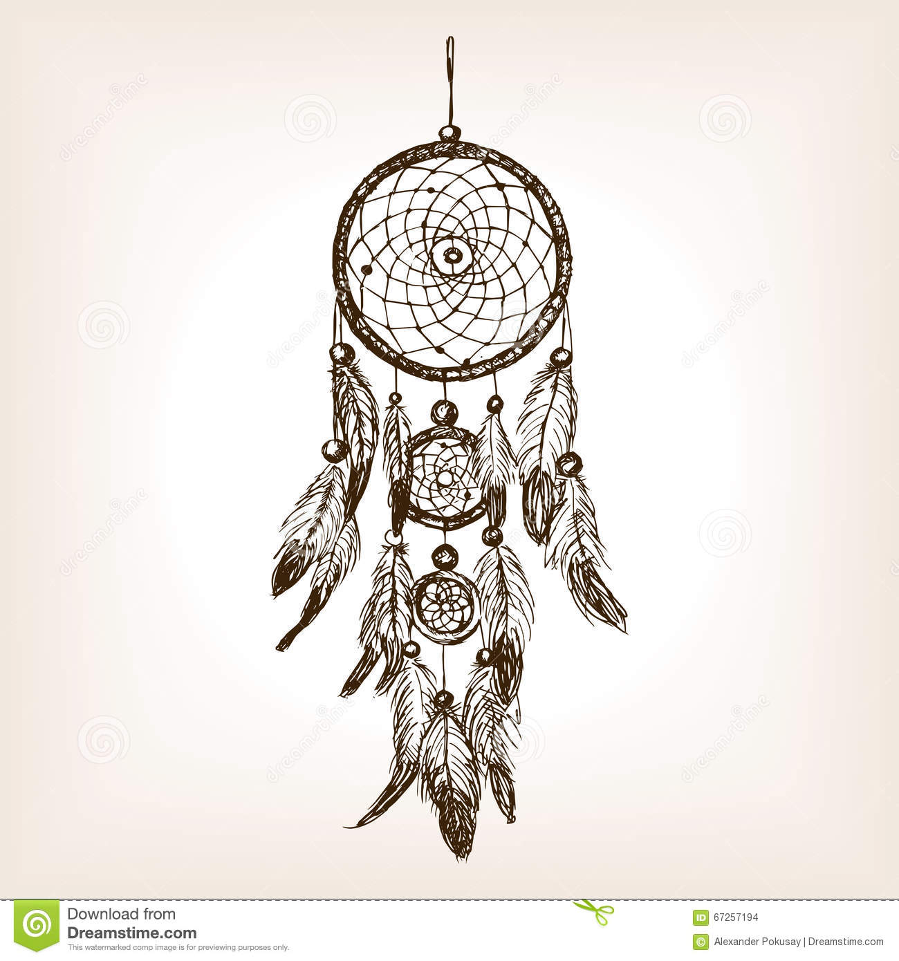 Dreamcatcher Hand Drawn Sketch Style Vector Stock
