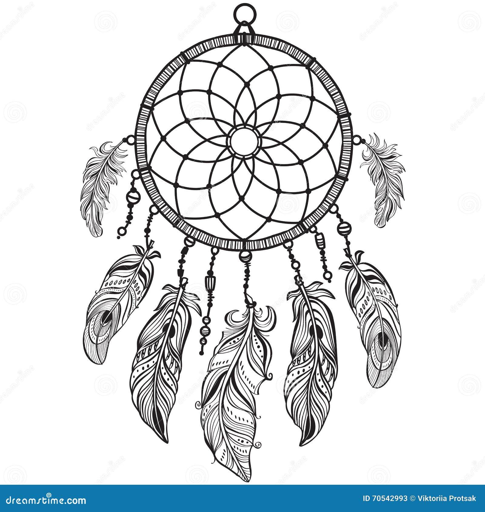 Dreamcatcher indiano del talismano del nativo americano - Fogli da colorare nativo americano ...
