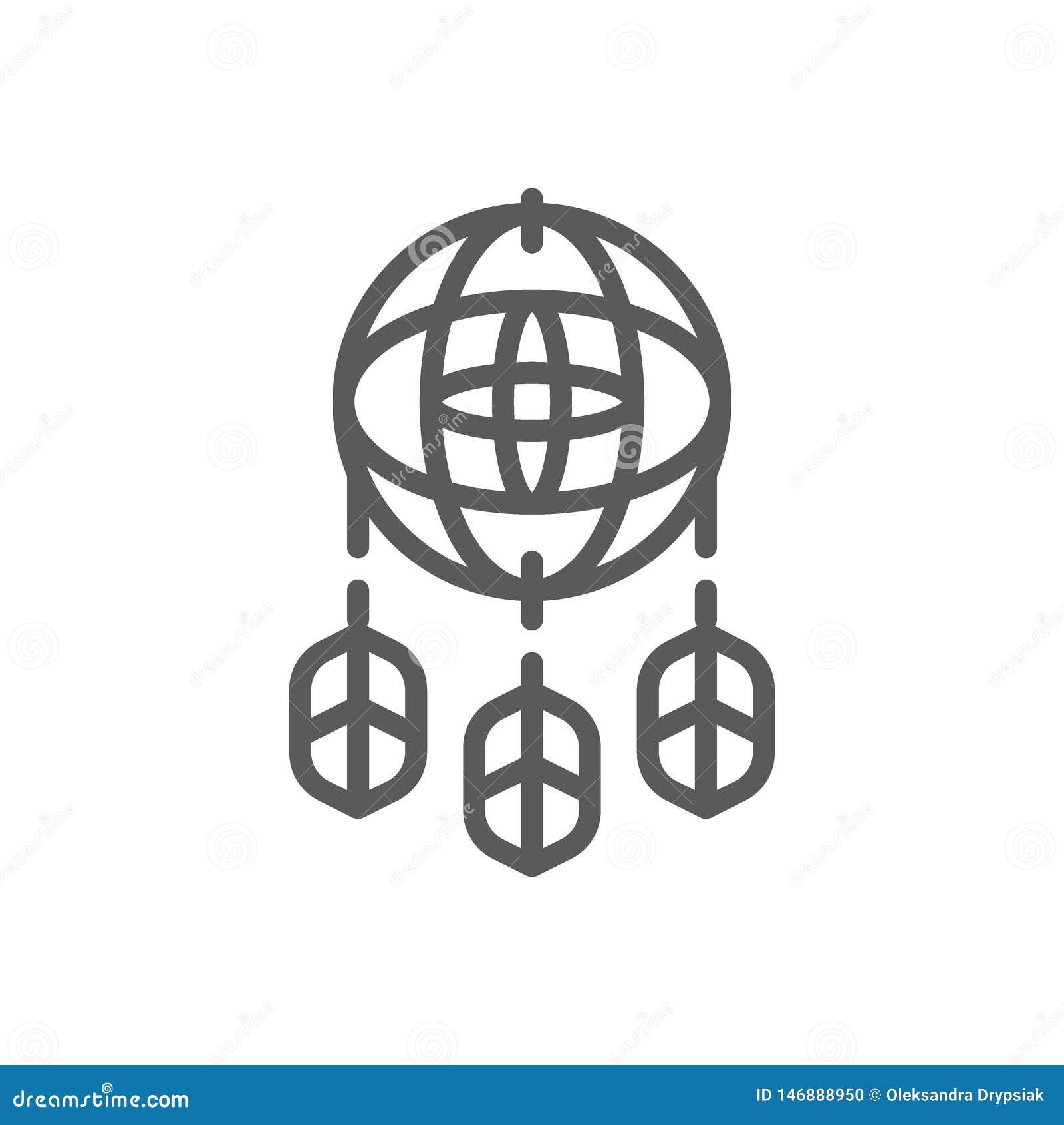 Dreamcatcher linii ikona