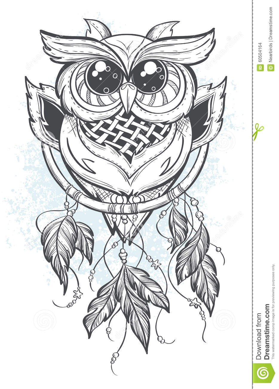 Dreamcatcher Vector Illustration With Owl Feathers Stock