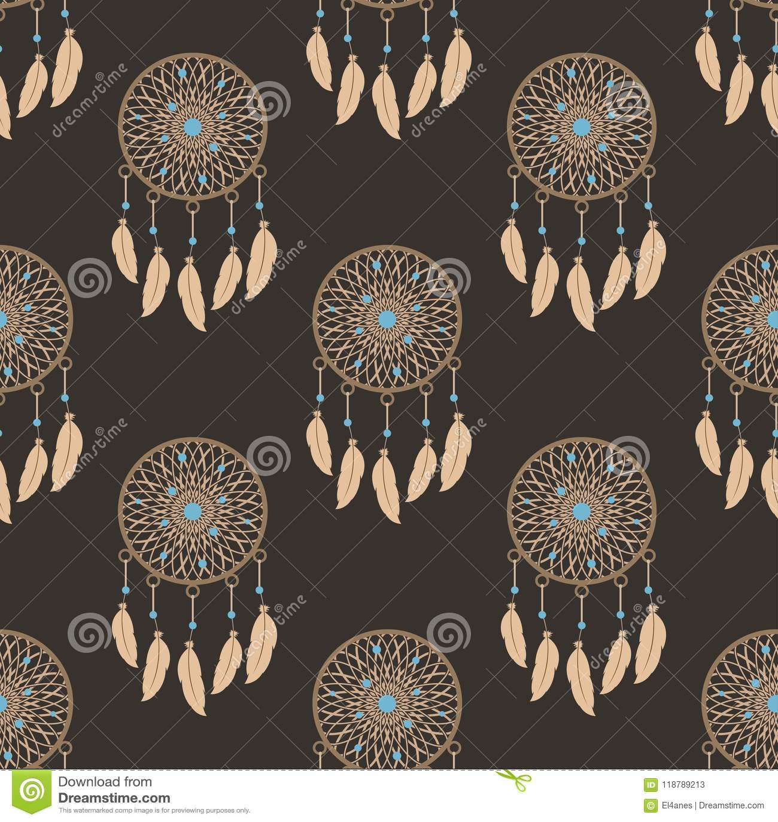 Dream catcher wallpaper. Ethnic style. Seamless vector pattern