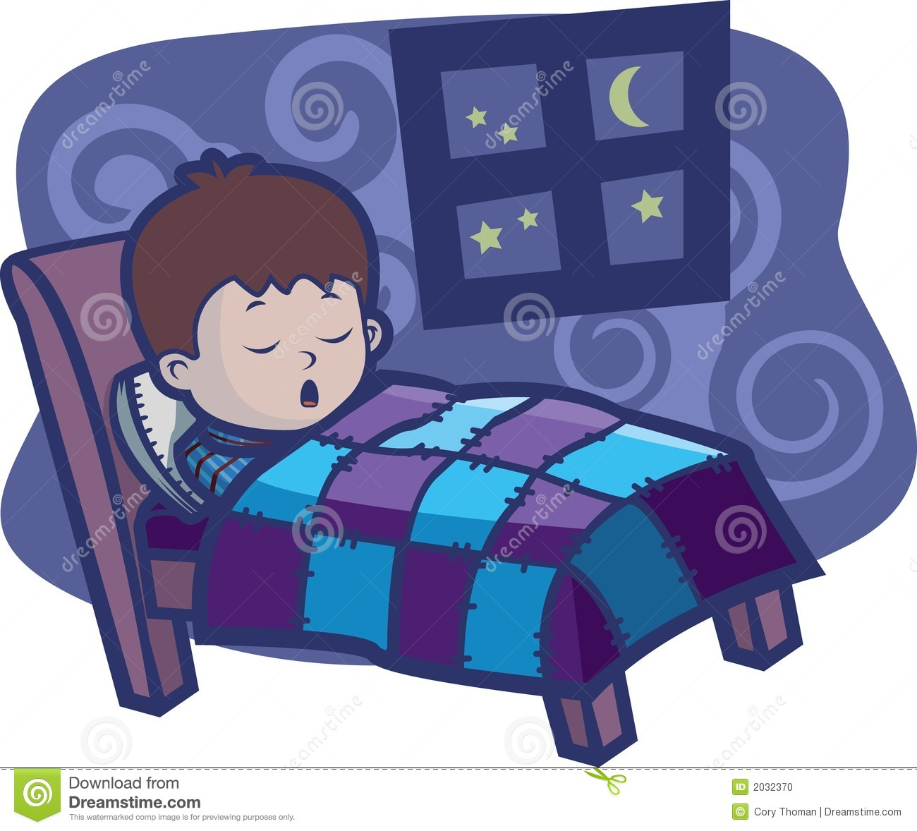 Child dreaming in bed