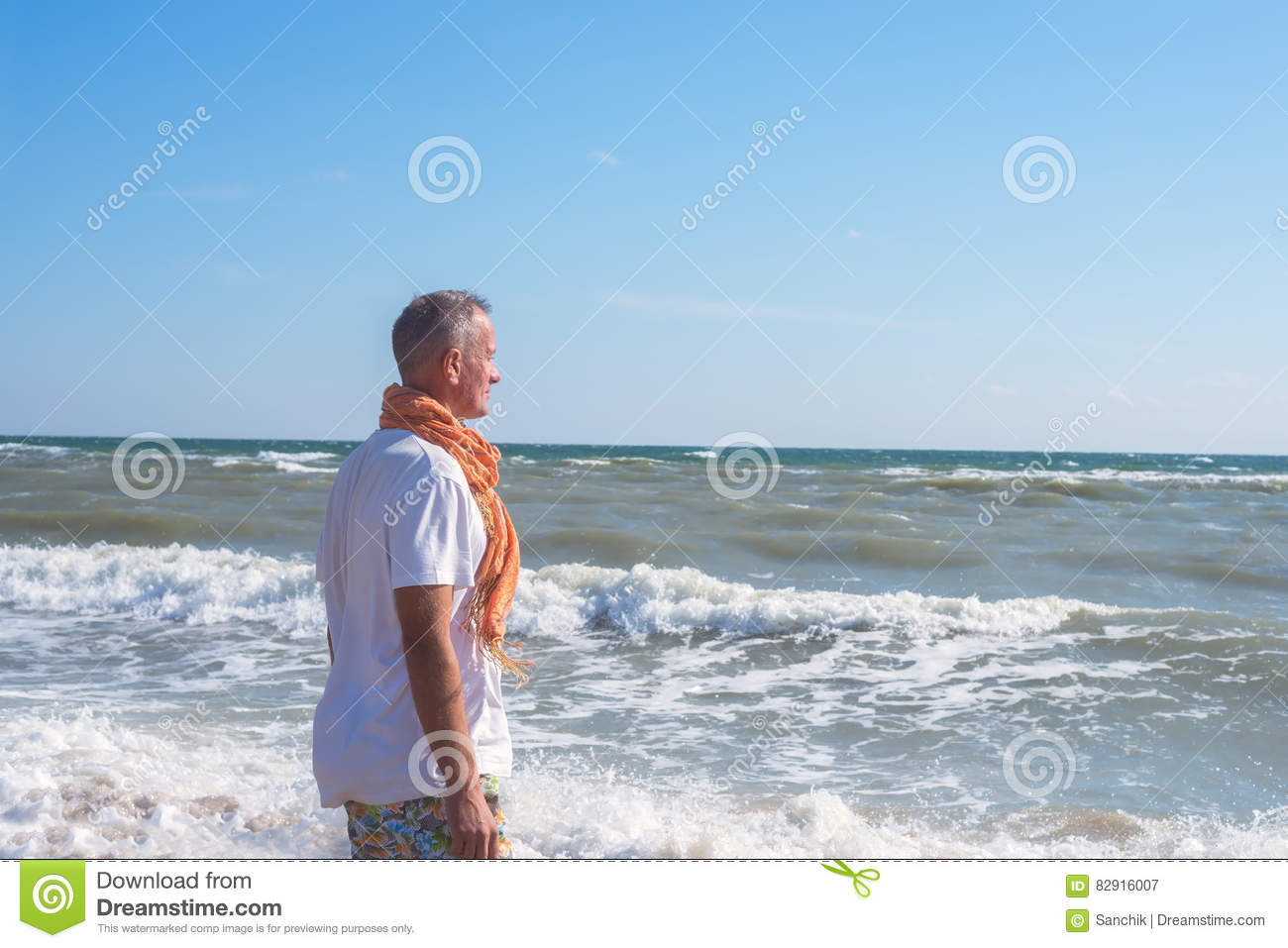 Dreaming Man Stands On The Beach In Surf Line Stock Image