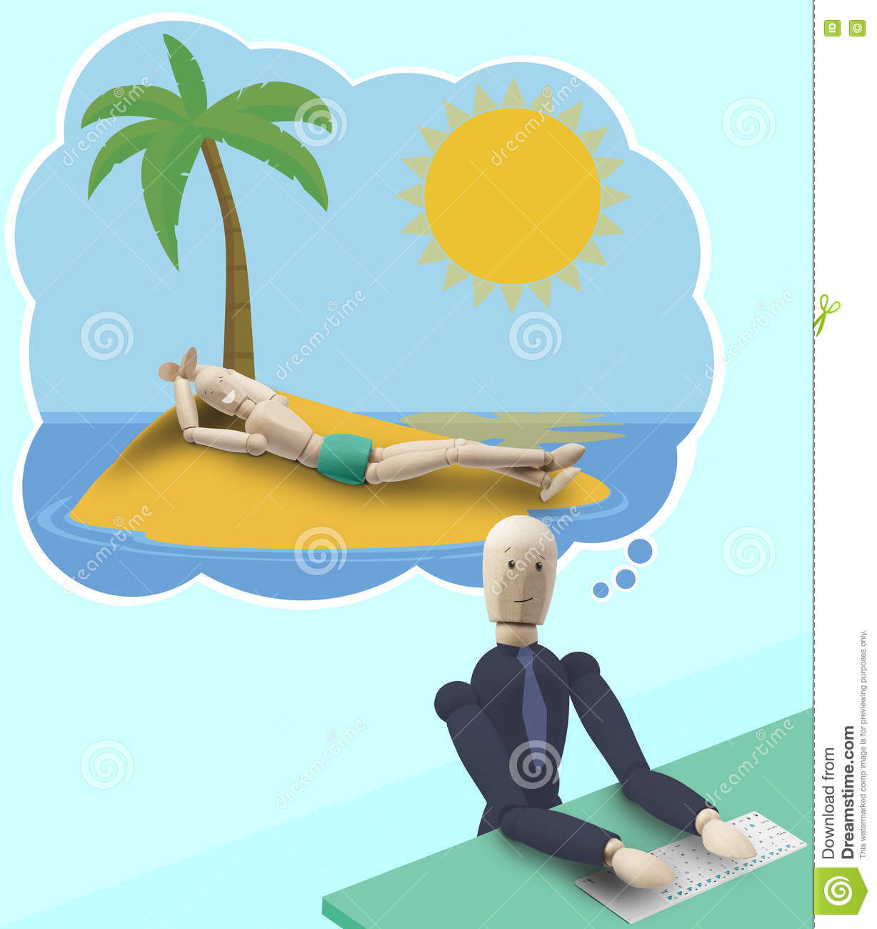 A Man At Work Dressed In Suit And Tie While Working On His Pc Dreams Summer Holydays Desert Island Sunbathing Bathing