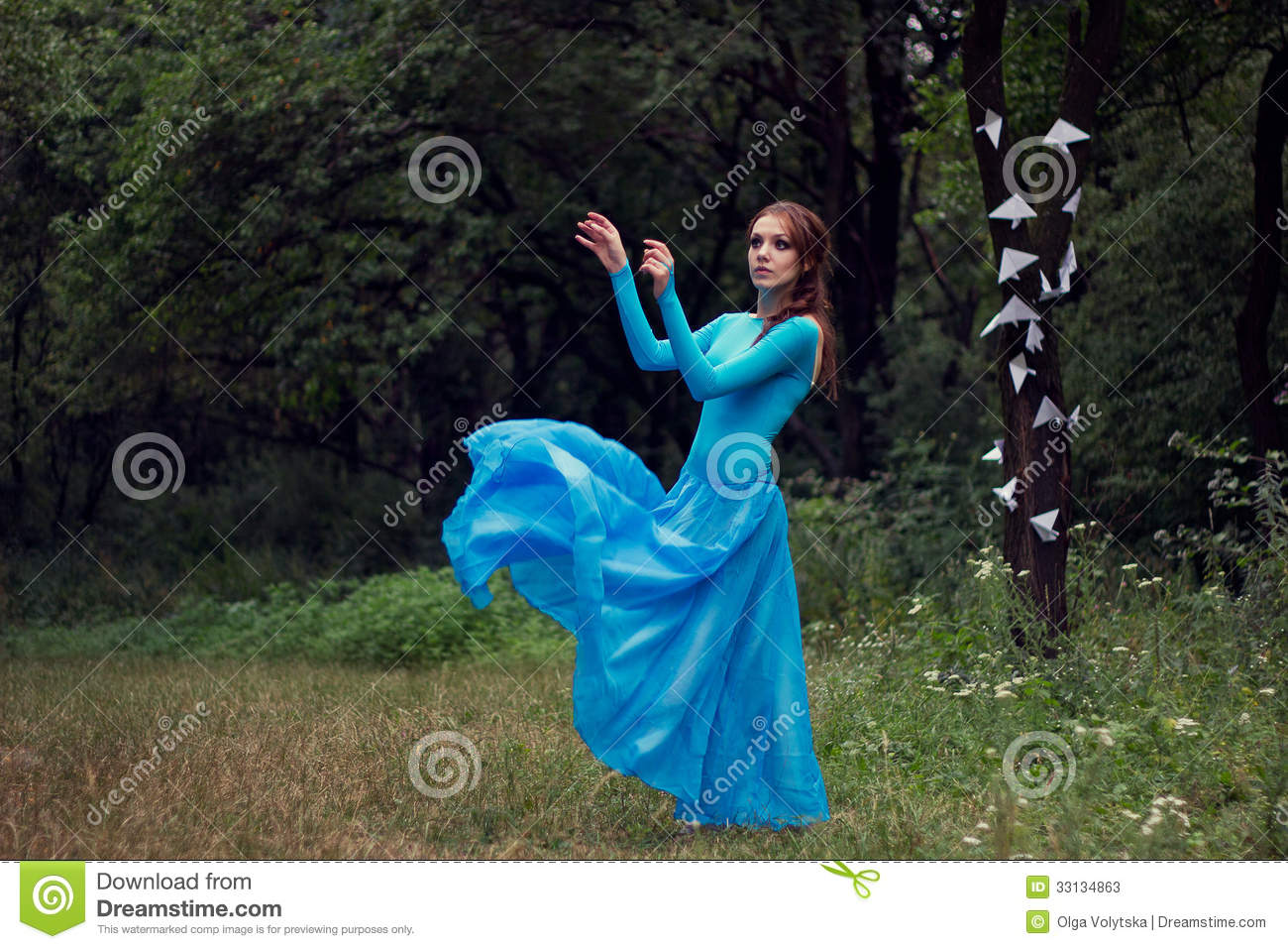 Dreams Young Woman In Blue Dress In The Forest Stock Image ...