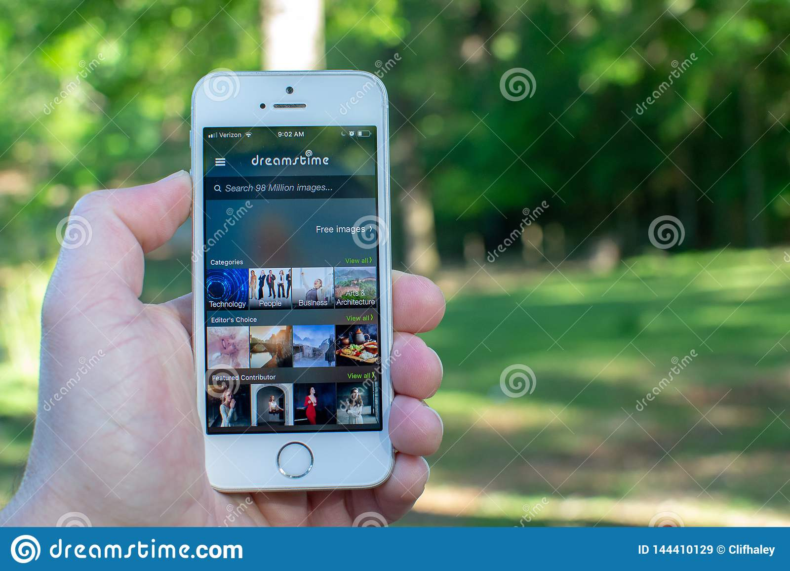 Dreamstime Mobile App on White Smartphone