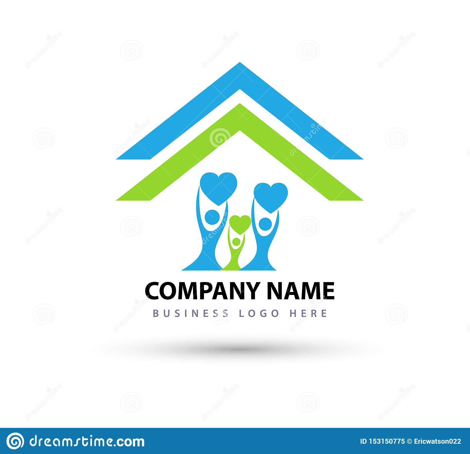 Happy Family in home house union logo lovely heart parent kids love parenting care symbol icon