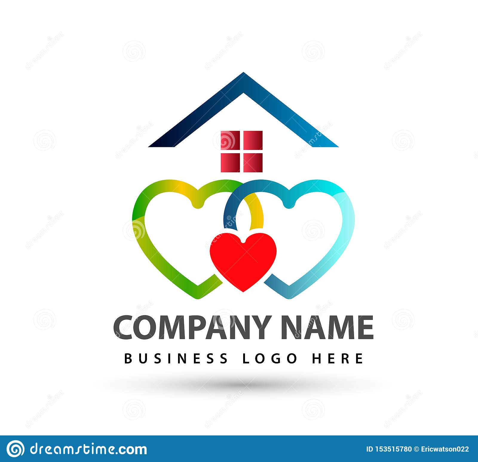 Home house union logo lovely heart parent kids love parenting care symbol icon