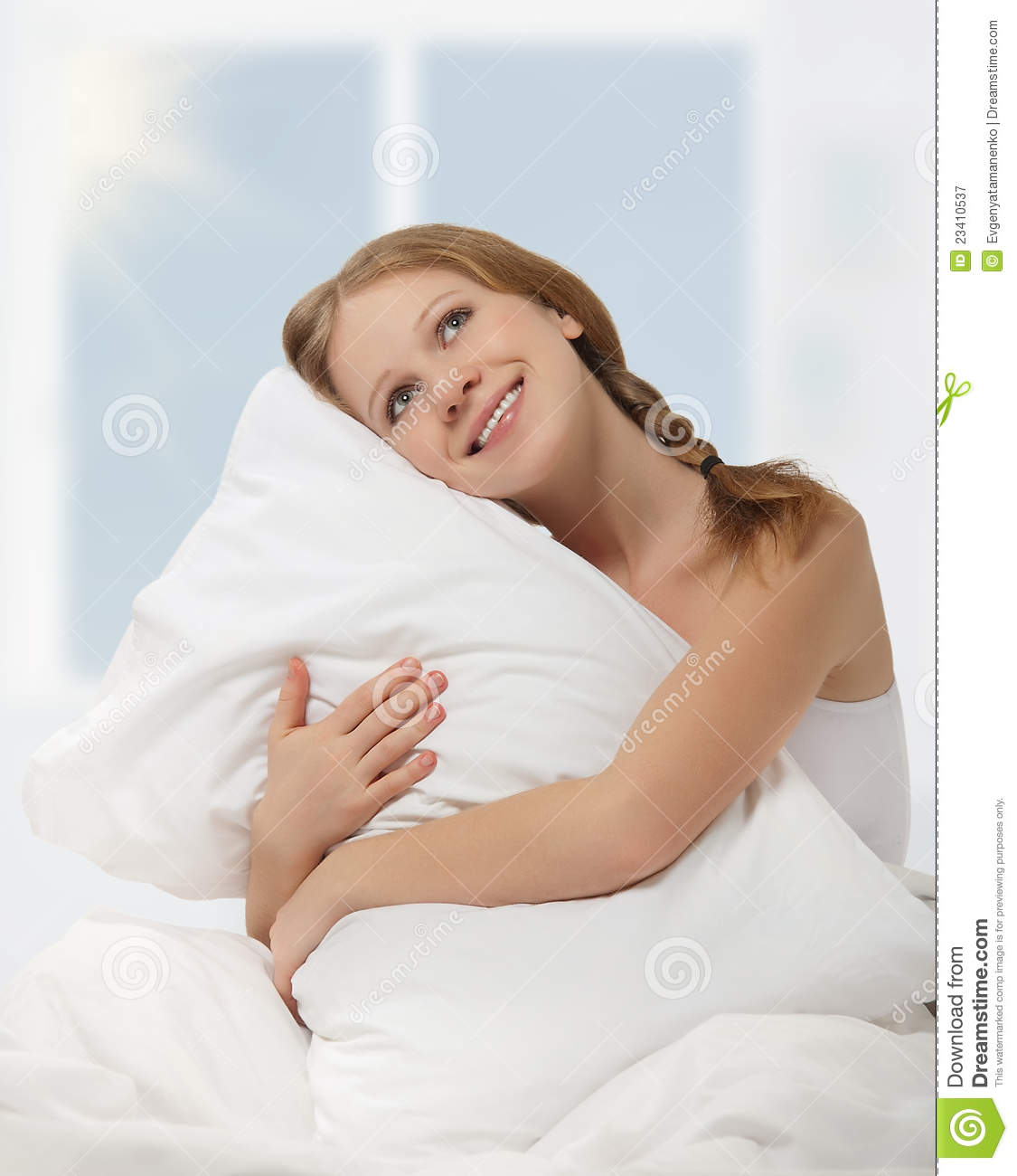 Royalty Free Stock Photography Dreamy Beauty Girl Hugging Pillow Bed Image23410537 on 3 Bedroom House Plans Free