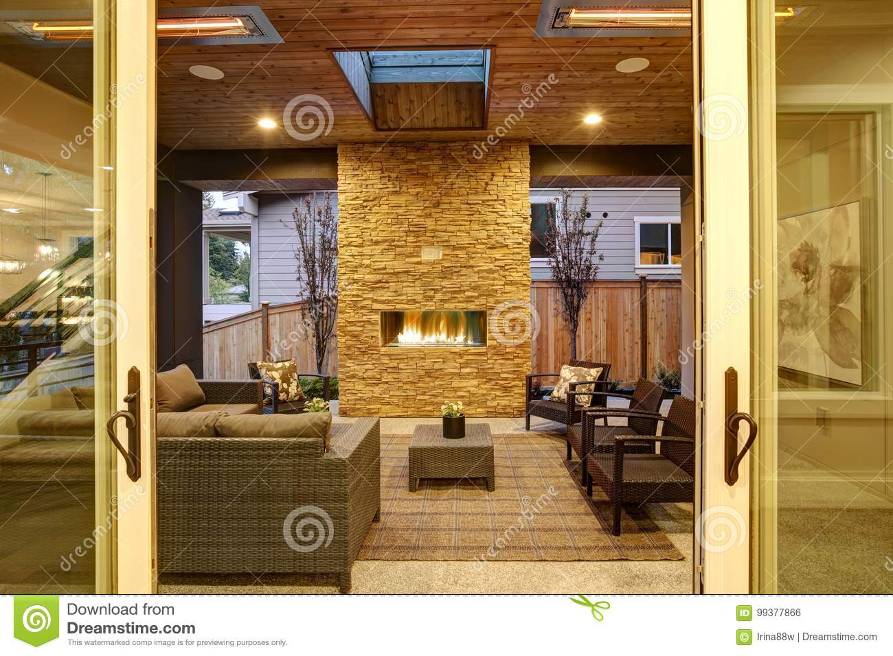 Dreamy Outdoor Covered Patio With Stone Fireplace Stock Photo Image Of Ottoman Fenced 99377866