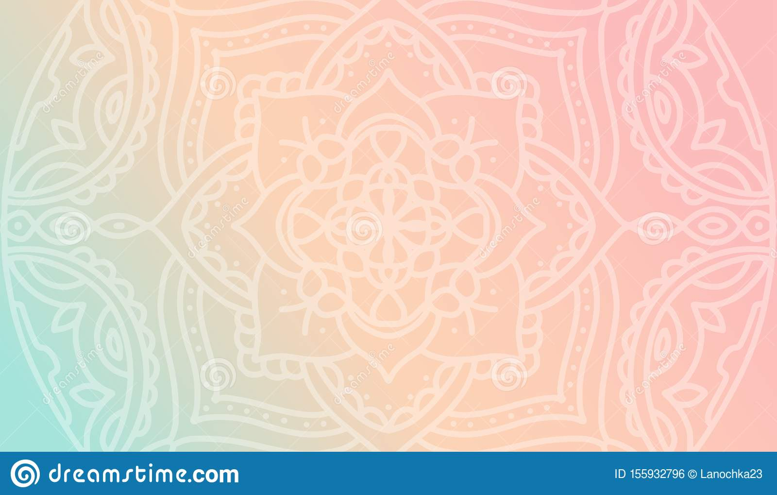 Dreamy Peach Pink Gradient Wallpaper With Mandala Pattern Vector Horizontal Background For Meditation Poster Banner For Yoga Stock Illustration Illustration Of Oriental Arabic 155932796