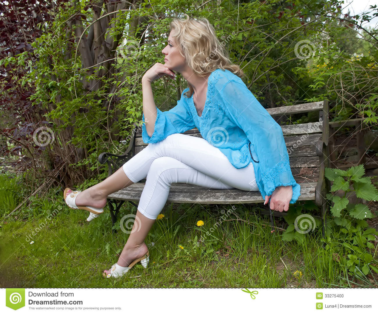 Dreamy Woman Sitting On A Bench Stock Photo Image 33275400