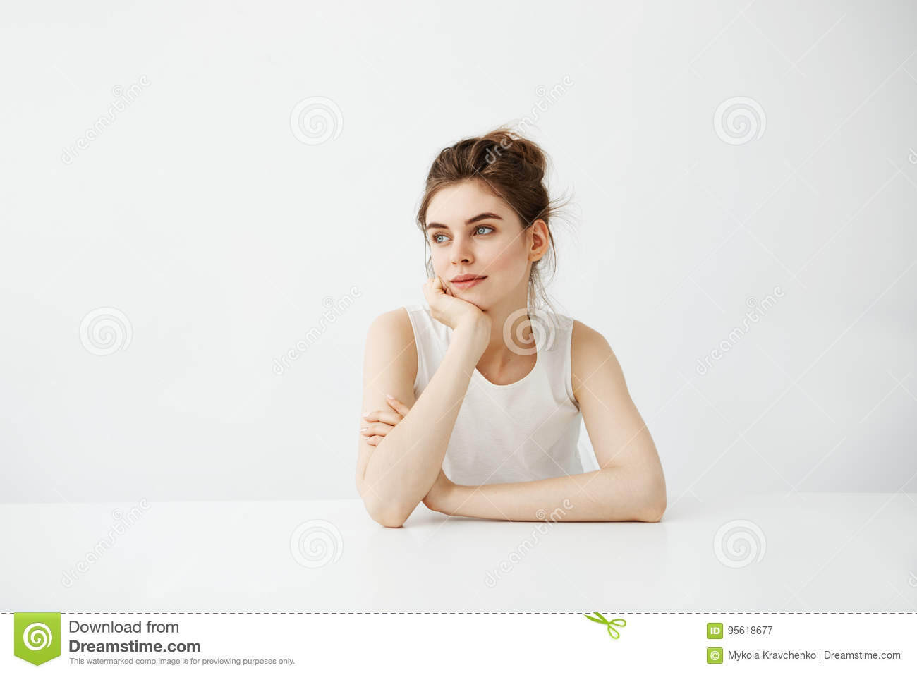 Dreamy Young Beautiful Girl Student Sitting At Table ...