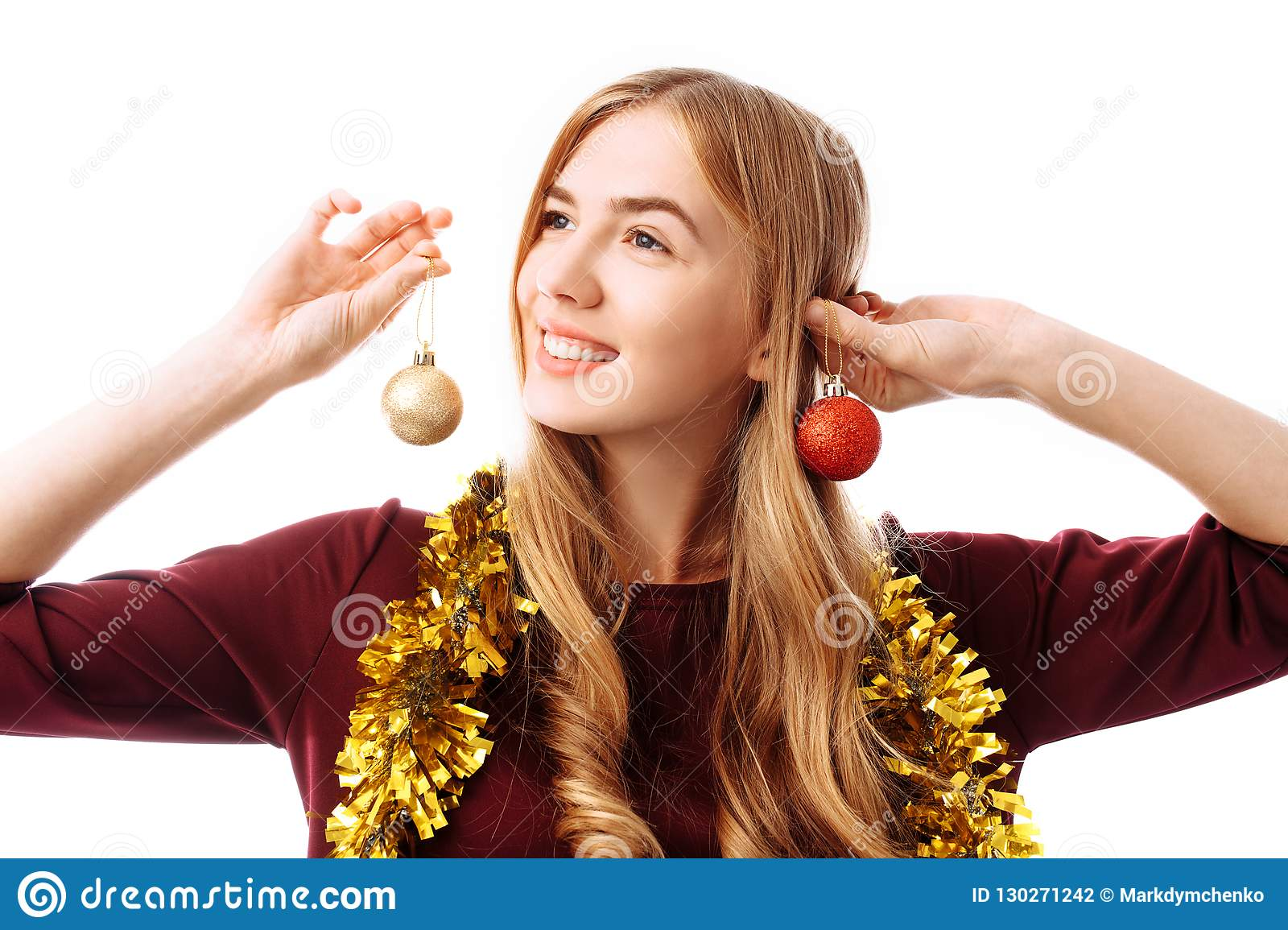 Dreamy Young Woman With Christmas Balls Over White ...