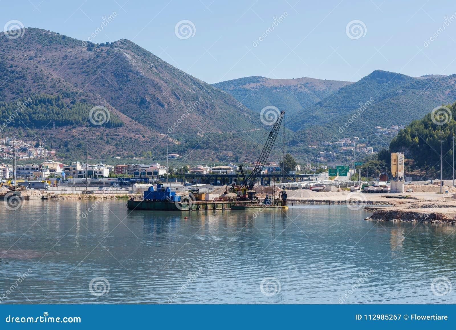 Dredge ship on the sea on the Igoumenitsa port in the Greece. Thesprotia.