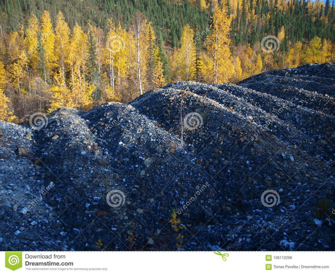 Dredge tailings stock photo  Image of blue, placer, fall - 106112298