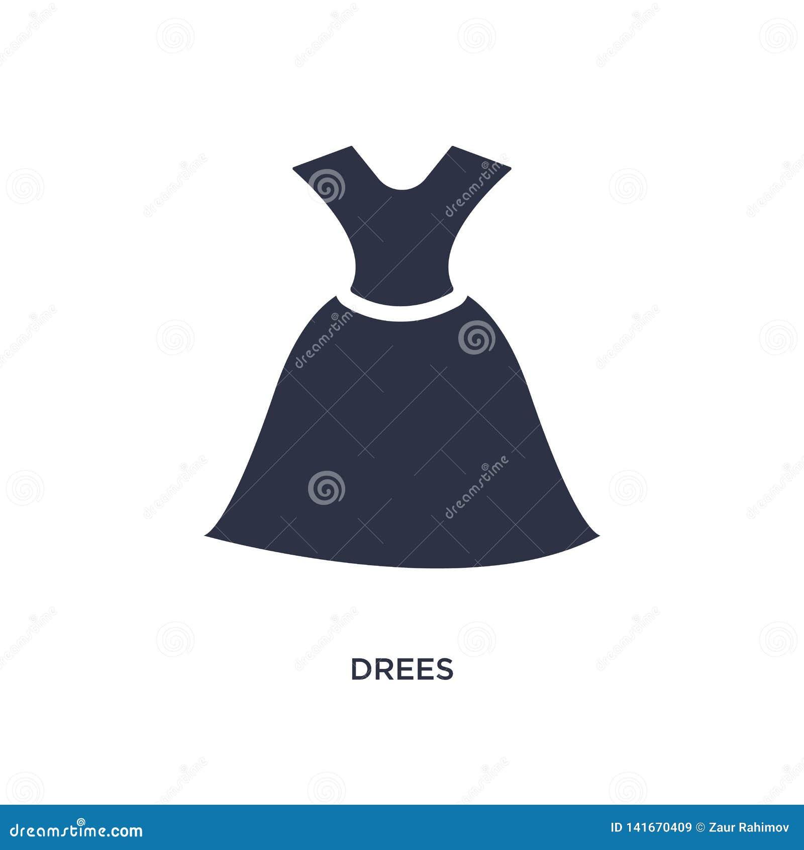 Drees Ikone auf weißem Hintergrund Einfache Elementillustration vom Kleidungskonzept