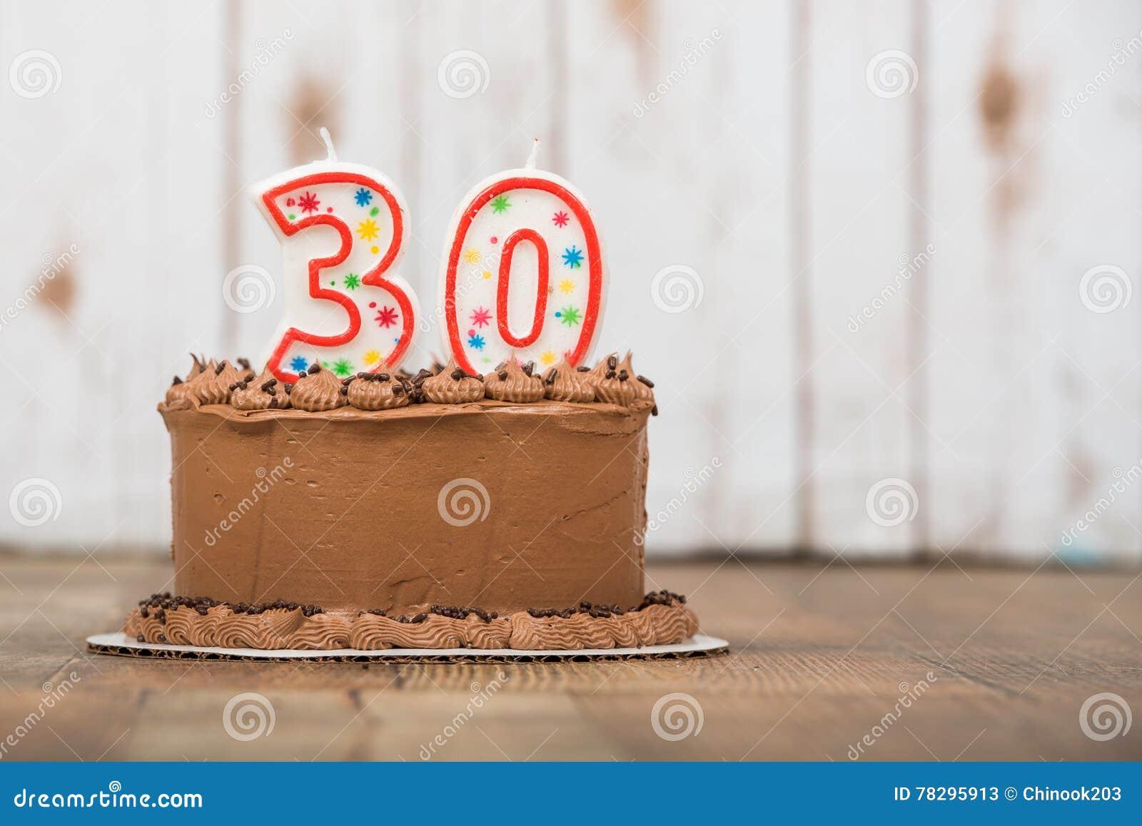 Dreissigste Schokolade Bereifter Geburtstagskuchen Stockbild Bild