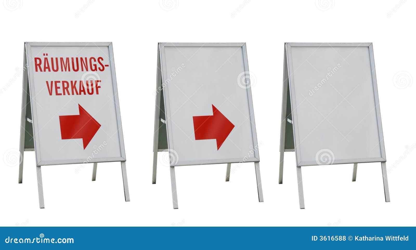 Drei Anzeigevorstände getrennt auf Weiß