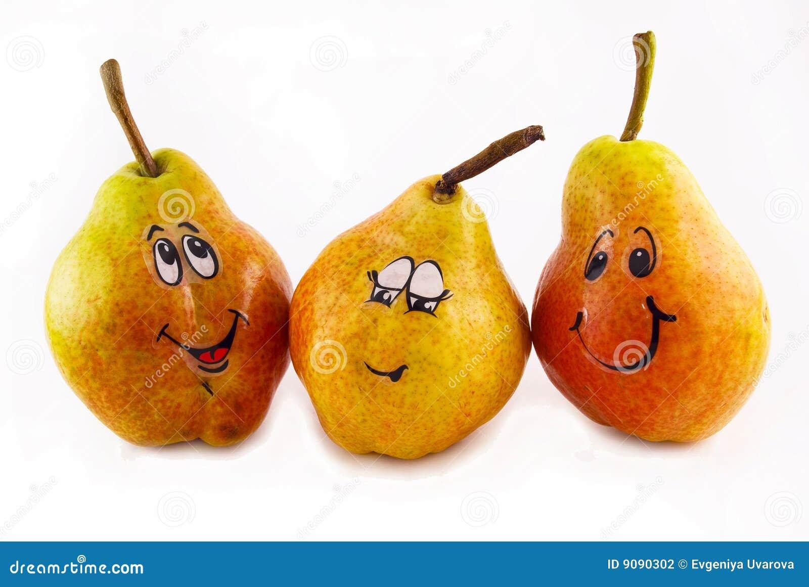 Drei Birnen mit einer Freude