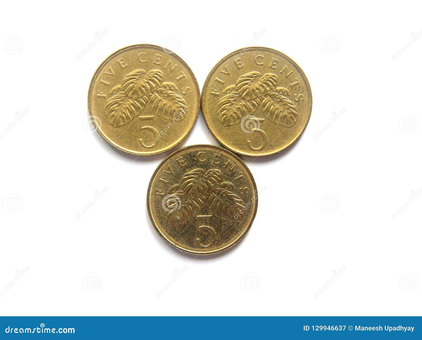 Drei 5 Cents Singapur-Münzen